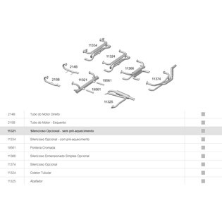 escapamento silencioso opcional - sem pré-aquecimento fusca 1300 / 1500 / 1600 - 67/86