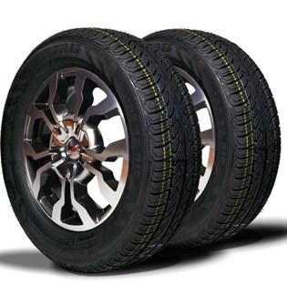 kit 2 pneu remoldado aro 15 195/65r15 strong