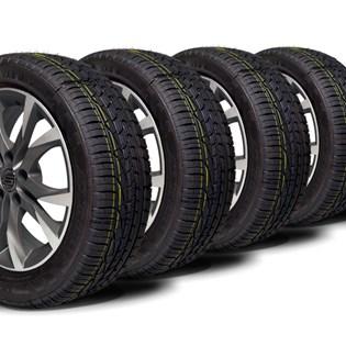 kit 4 pneu aro 15 remold 195/55r15 strong (desenho goodyear)