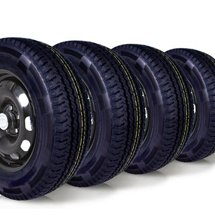 kit 4 pneu carga aro 15 205/70r15 8 lonas wemic forlli remold
